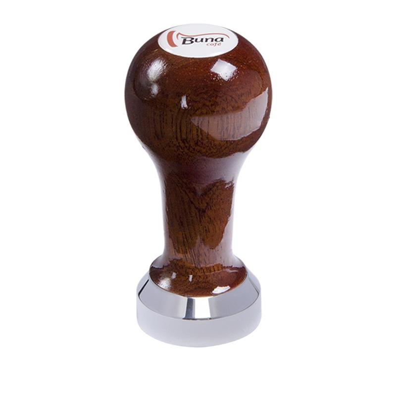 Buna café tamper, mahagon, lak, SP, 41 mm, nerez lesk, plochý