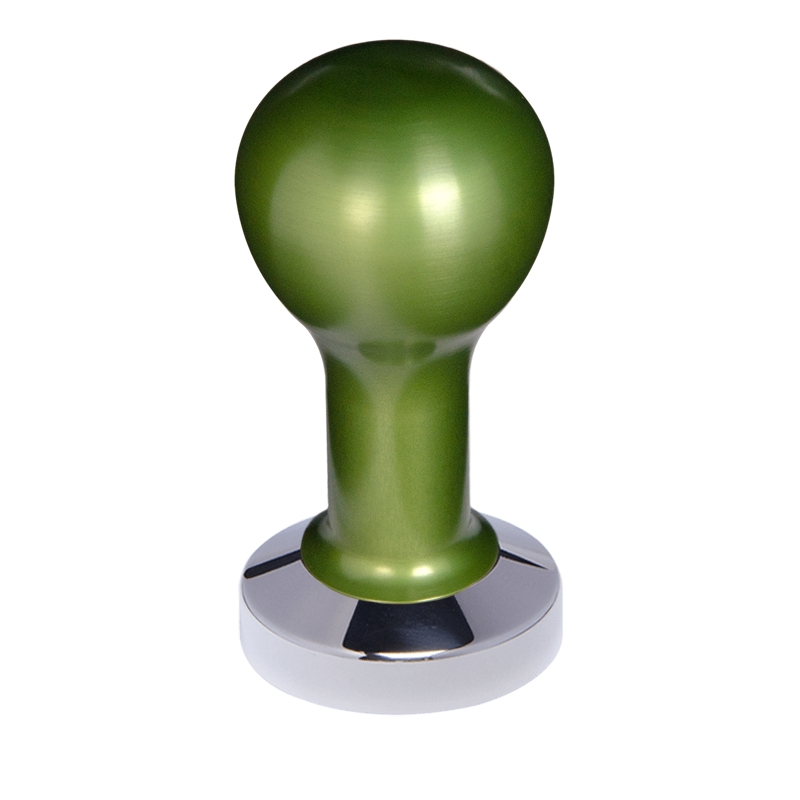 Buna café tamper, kov, zelený, 53 mm, nerez lesk, plochý