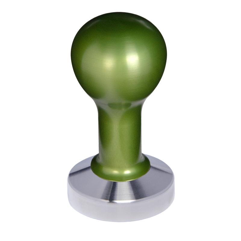 Buna café tamper, kov, zelený, 57 mm, nerez mat, plochý