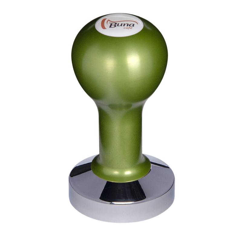 Buna café tamper, kov, zelený, SP, 58.35 mm, nerez lesk, konvexní