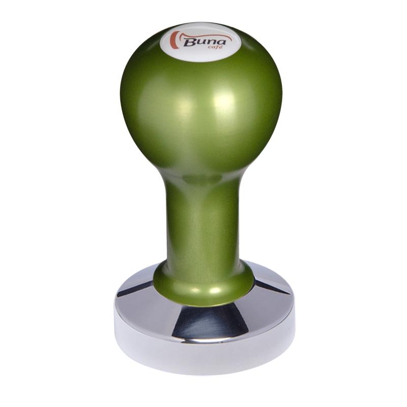 Buna café tamper, kov, zelený, SP, 58.35 mm, nerez lesk, plochý