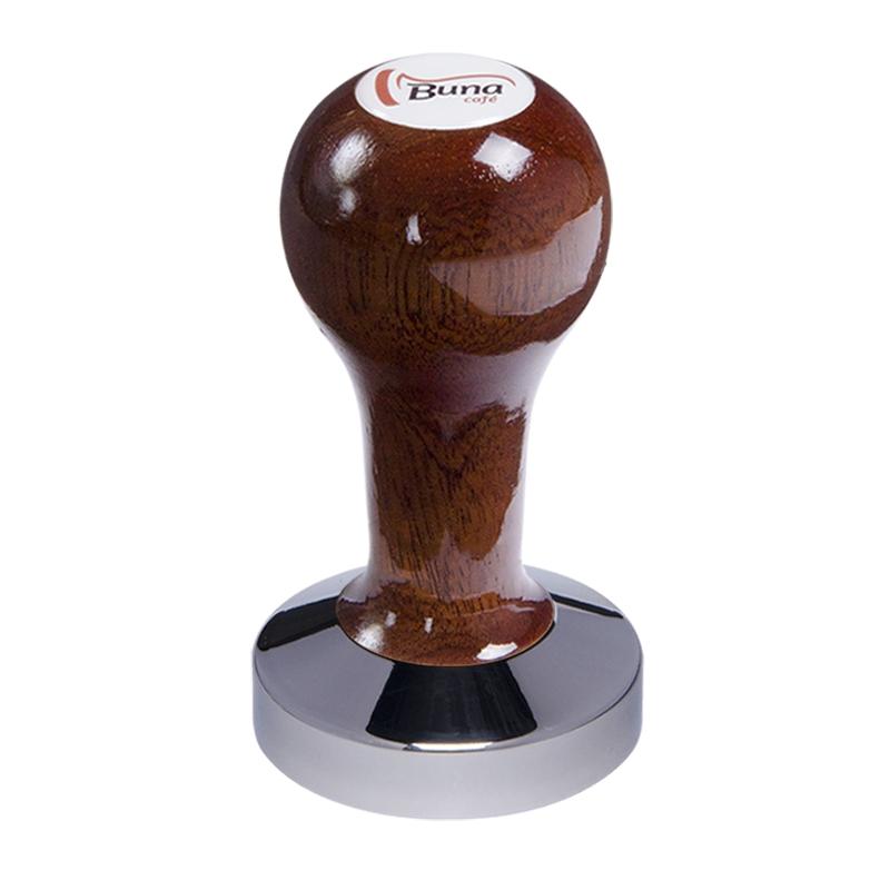 Buna café tamper, mahagon, lak, SP, 58 mm, nerez lesk, konvexní
