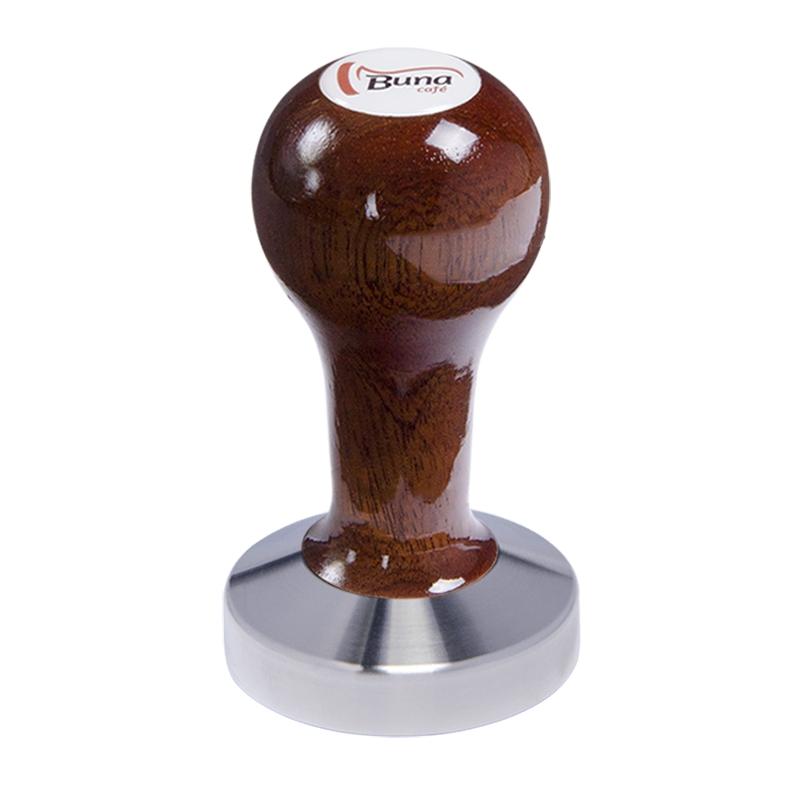 Buna café tamper, mahagon, lak, SP, 58 mm, nerez mat, konvexní
