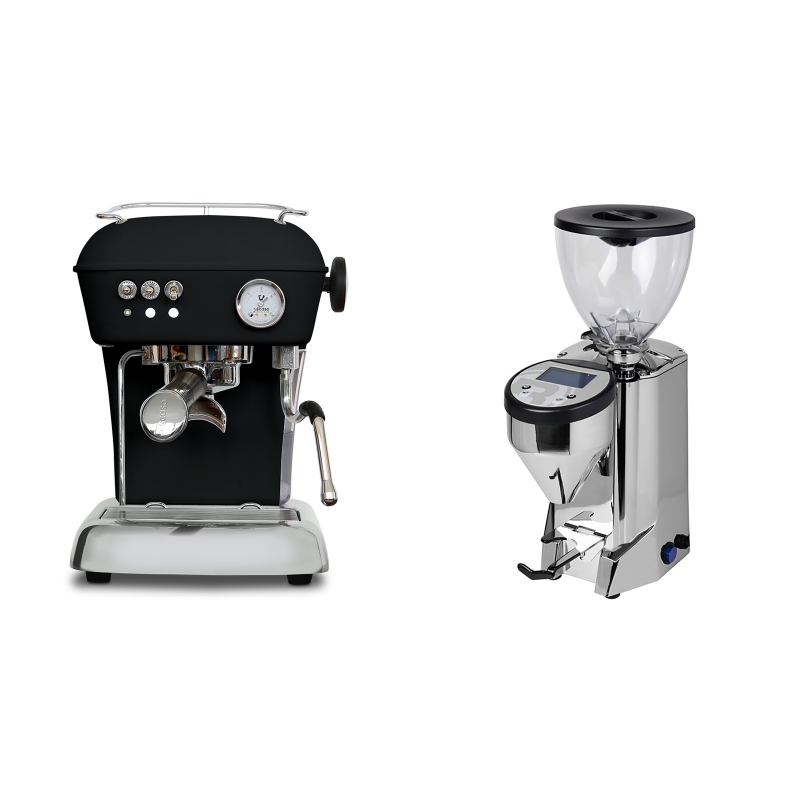 Ascaso Dream ONE, Dark Black + Rocket Espresso FAUSTO, chrome