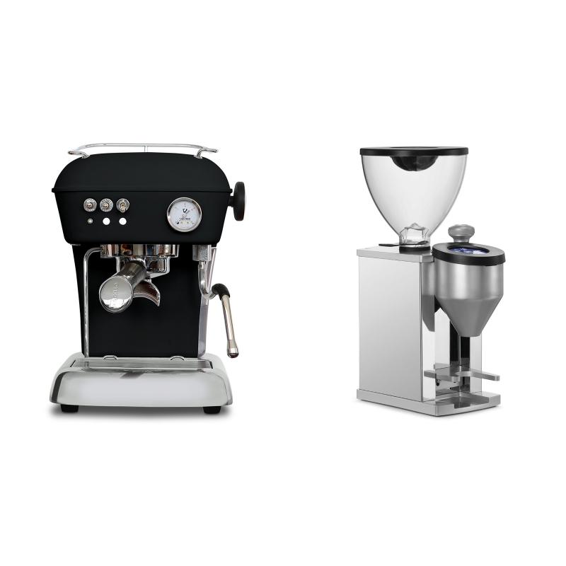 Ascaso Dream ONE, Dark Black + Rocket Espresso FAUSTINO, chrome