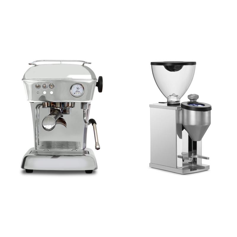Ascaso Dream ONE, leštěný hliník + Rocket Espresso FAUSTINO, chrome