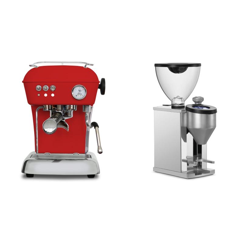 Ascaso Dream ONE, Love Red + Rocket Espresso FAUSTINO, chrome