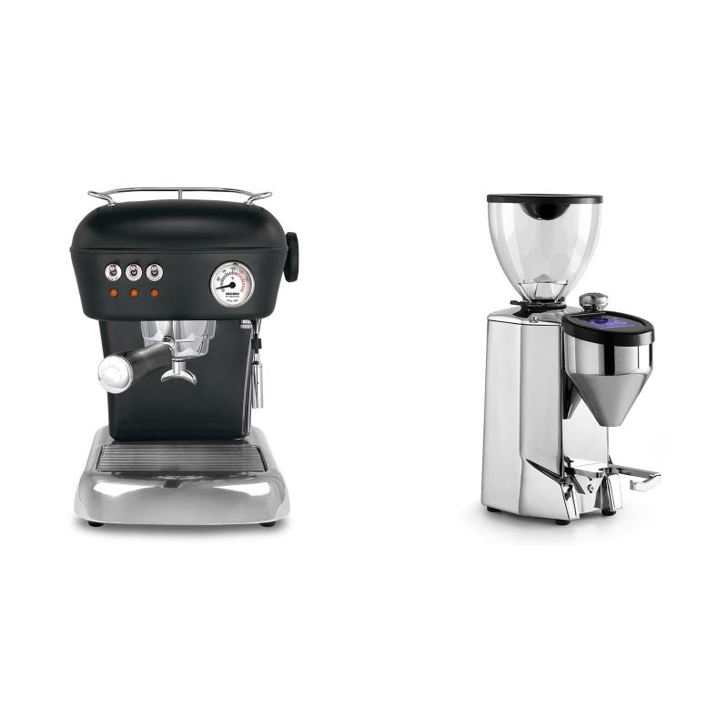 Ascaso Dream ZERO, Dark Black + Rocket Espresso FAUSTO 2.1, chrome