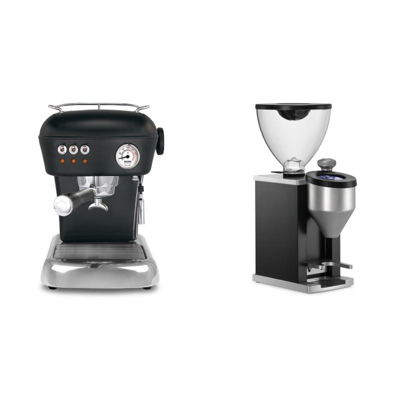 Ascaso Dream ZERO, Dark Black + Rocket Espresso FAUSTINO, black