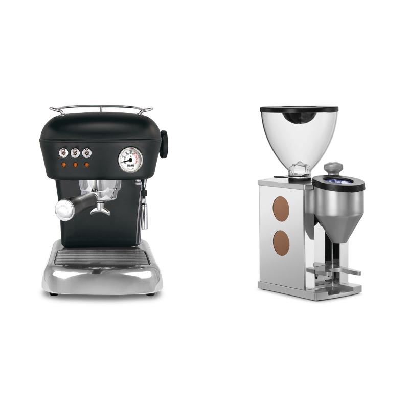 Ascaso Dream ZERO, Dark Black + Rocket Espresso FAUSTINO, copper
