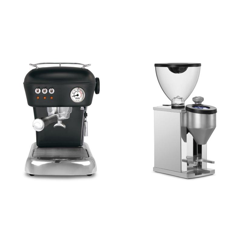 Ascaso Dream ZERO, Dark Black + Rocket Espresso FAUSTINO, chrome