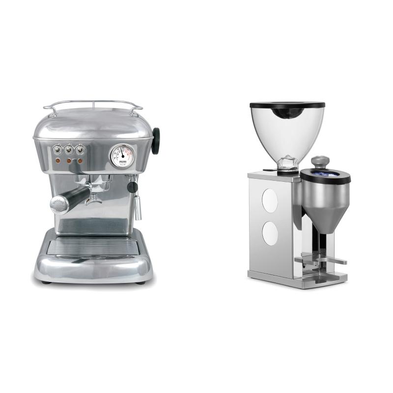 Ascaso Dream ZERO, leštěný hliník + Rocket Espresso FAUSTINO, white