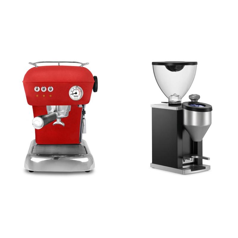 Ascaso Dream ZERO, Love Red + Rocket Espresso FAUSTINO, black