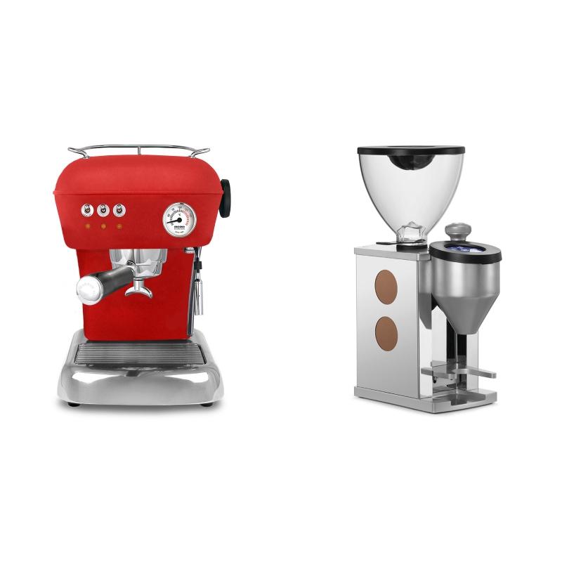 Ascaso Dream ZERO, Love Red + Rocket Espresso FAUSTINO, copper