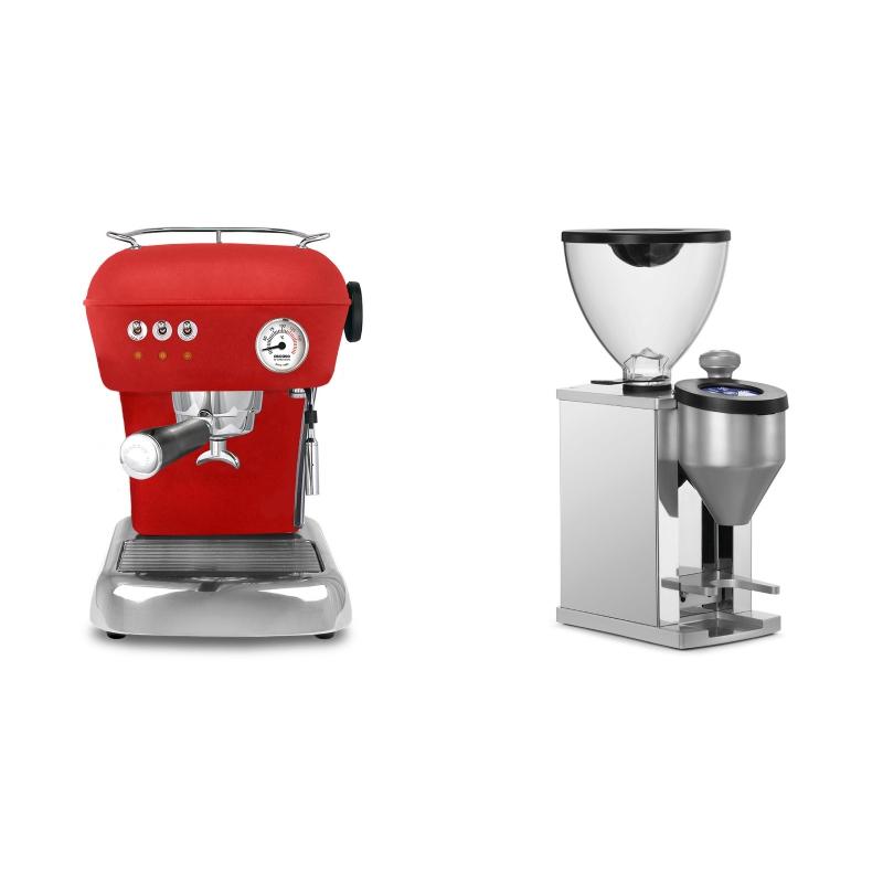 Ascaso Dream ZERO, Love Red + Rocket Espresso FAUSTINO, chrome