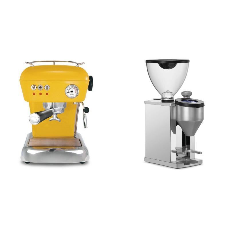Ascaso Dream ZERO, Sun Yellow + Rocket Espresso FAUSTINO, chrome