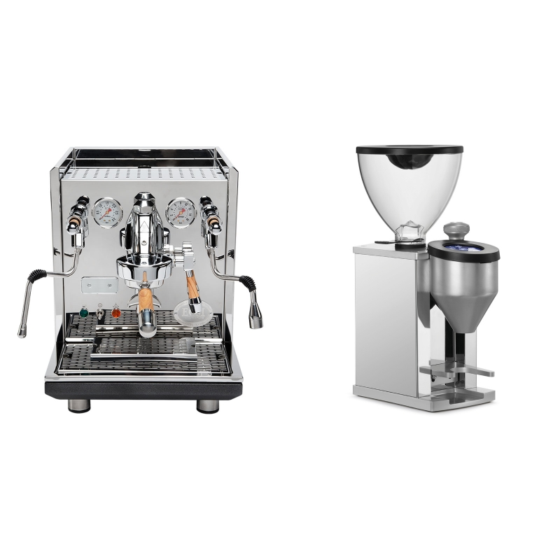 ECM Synchronika, oliva + Rocket Espresso FAUSTINO, chrome