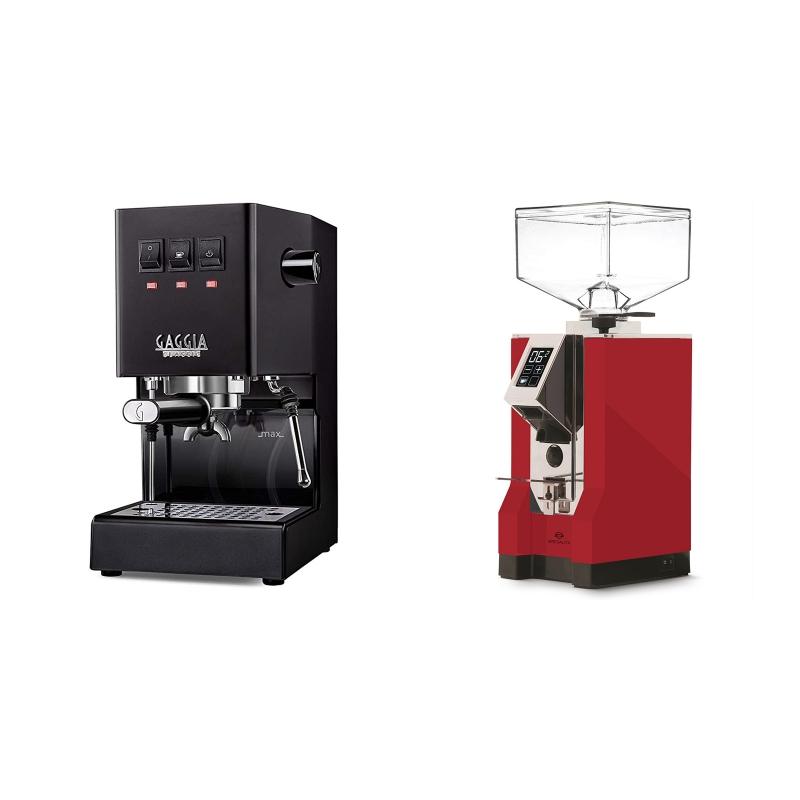 Gaggia New Classic, black + Eureka Mignon Specialita, CR ferrari red