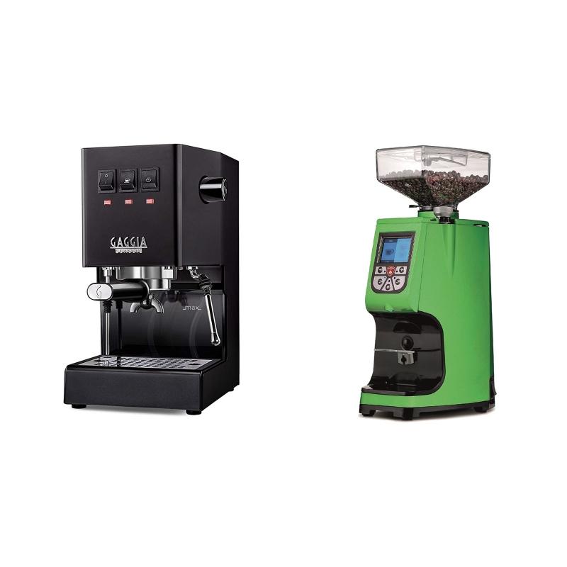 Gaggia New Classic, black + Eureka Atom 60, kawasaki green
