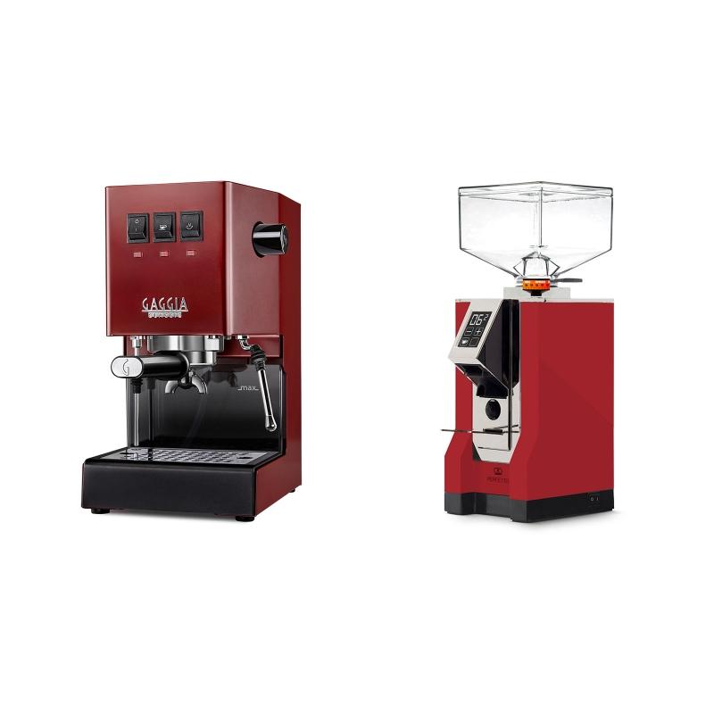 Gaggia New Classic, red + Eureka Mignon Perfetto, CR ferrari red