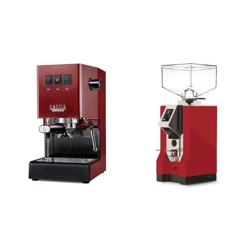 Gaggia New Classic, red + Eureka Mignon Specialita, CR ferrari red