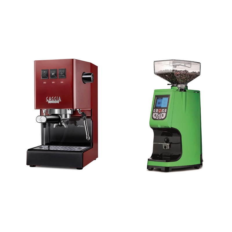 Gaggia New Classic, red + Eureka Atom 60, kawasaki green