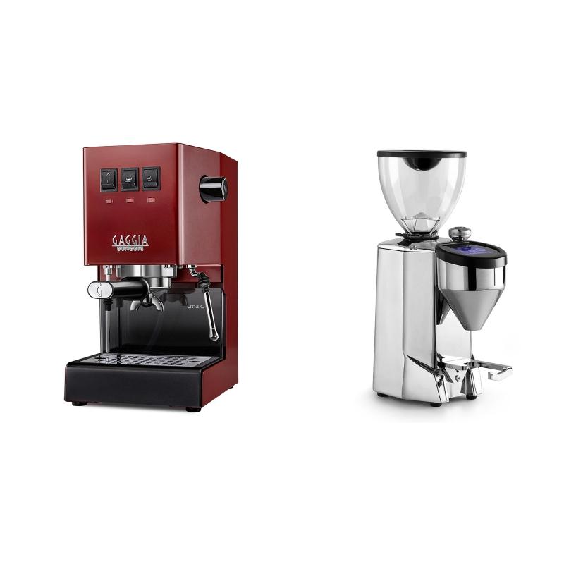 Gaggia New Classic, red + Rocket Espresso FAUSTO 2.1, chrome