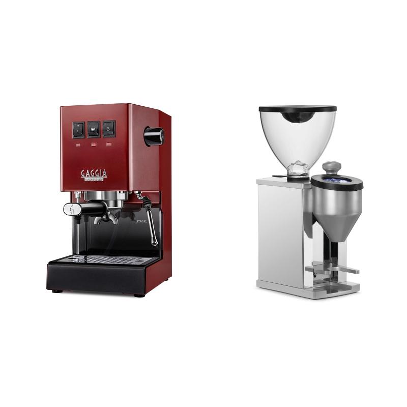 Gaggia New Classic, red + Rocket Espresso FAUSTINO, chrome