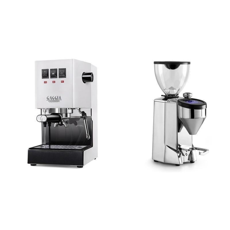 Gaggia New Classic, white + Rocket Espresso FAUSTO 2.1, chrome