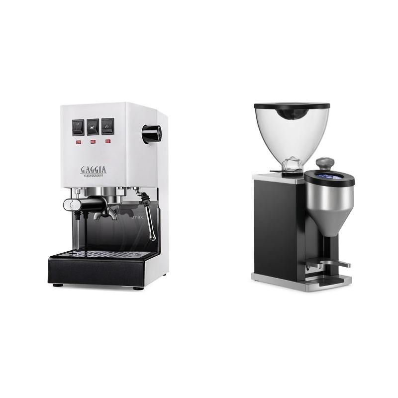 Gaggia New Classic, white + Rocket Espresso FAUSTINO, black