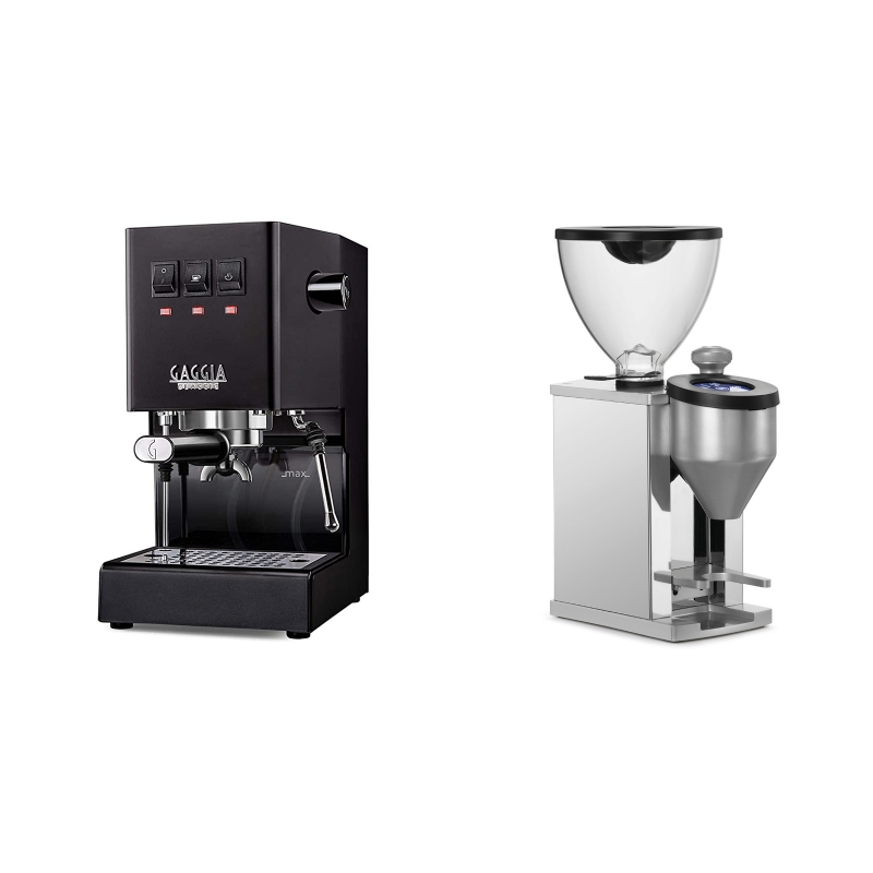 Gaggia New Classic BC, black + Rocket Espresso FAUSTINO, chrome
