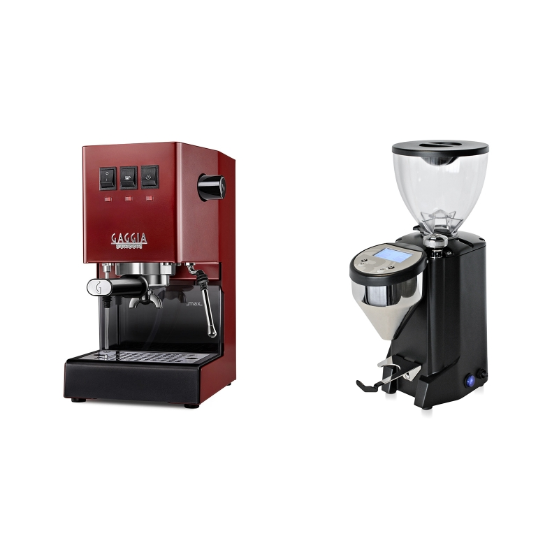 Gaggia New Classic BC, red + Rocket Espresso FAUSTO, black