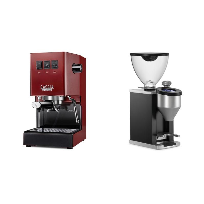 Gaggia New Classic BC, red + Rocket Espresso FAUSTINO, black