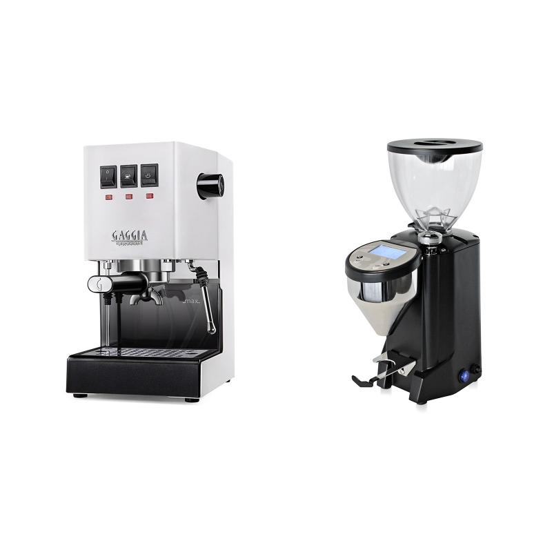 Gaggia New Classic BC, white + Rocket Espresso FAUSTO, black