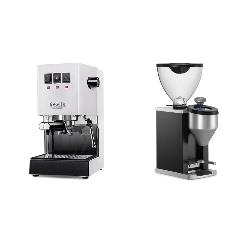 Gaggia New Classic BC, white + Rocket Espresso FAUSTINO, black