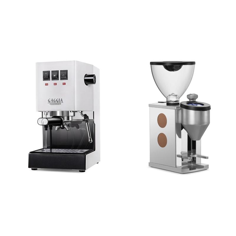 Gaggia New Classic BC, white + Rocket Espresso FAUSTINO, copper