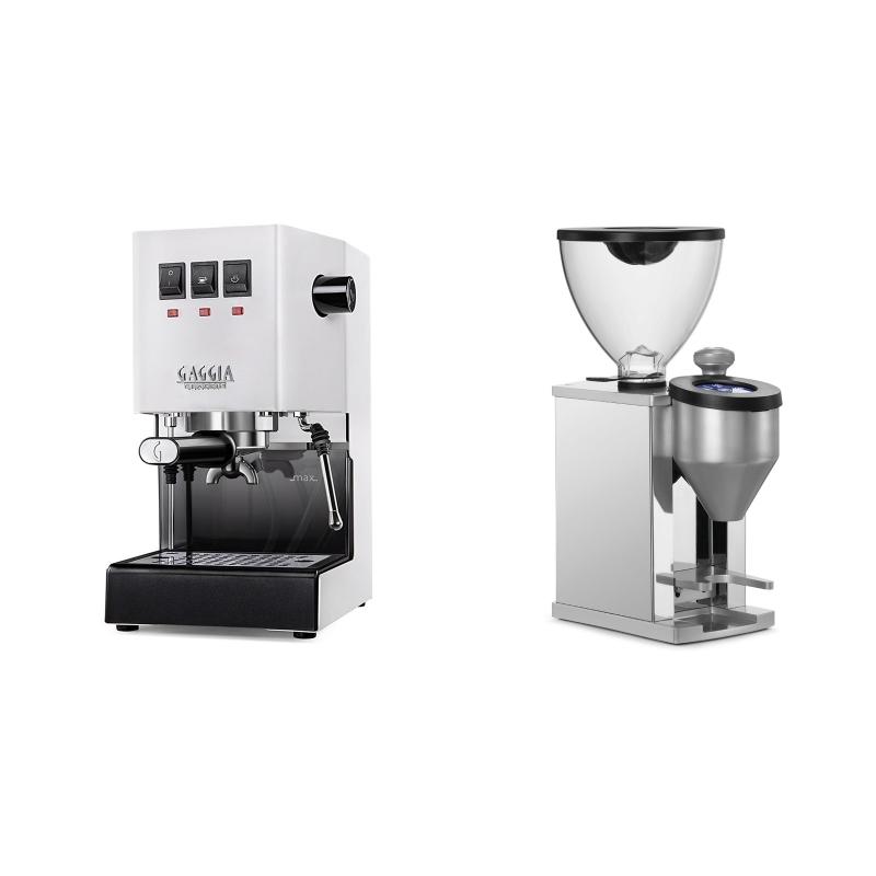 Gaggia New Classic BC, white + Rocket Espresso FAUSTINO, chrome