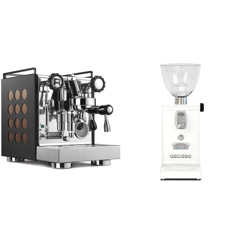 Rocket Espresso Appartamento, black/copper + Ascaso i-steel, bílá