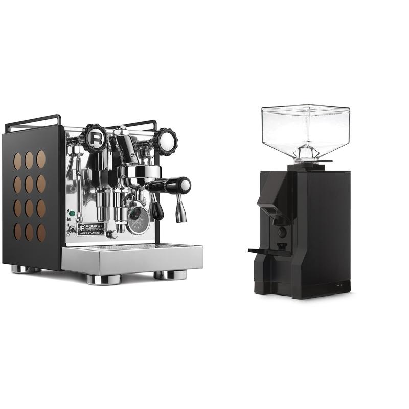 Rocket Espresso Appartamento, black/copper + Eureka Mignon Manuale, BL black