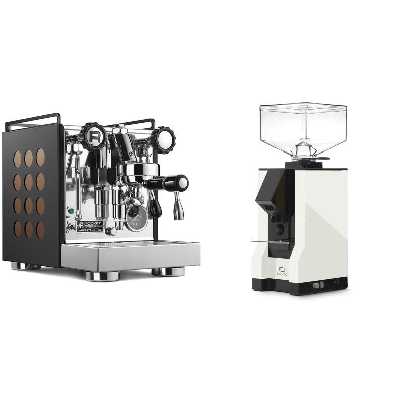 Rocket Espresso Appartamento, black/copper + Eureka Mignon Silenzio, BL white