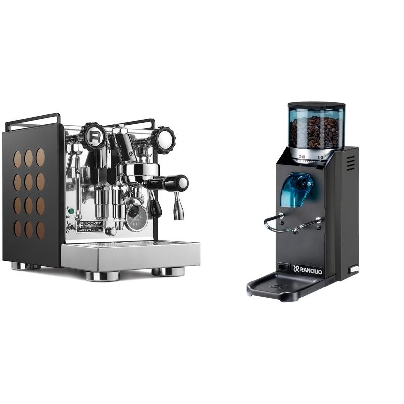 Rocket Espresso Appartamento, black/copper + Rancilio Rocky Doserless, černá