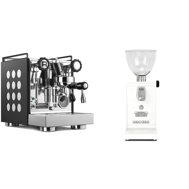 Rocket Espresso Appartamento, black/white + Ascaso i-steel, bílá