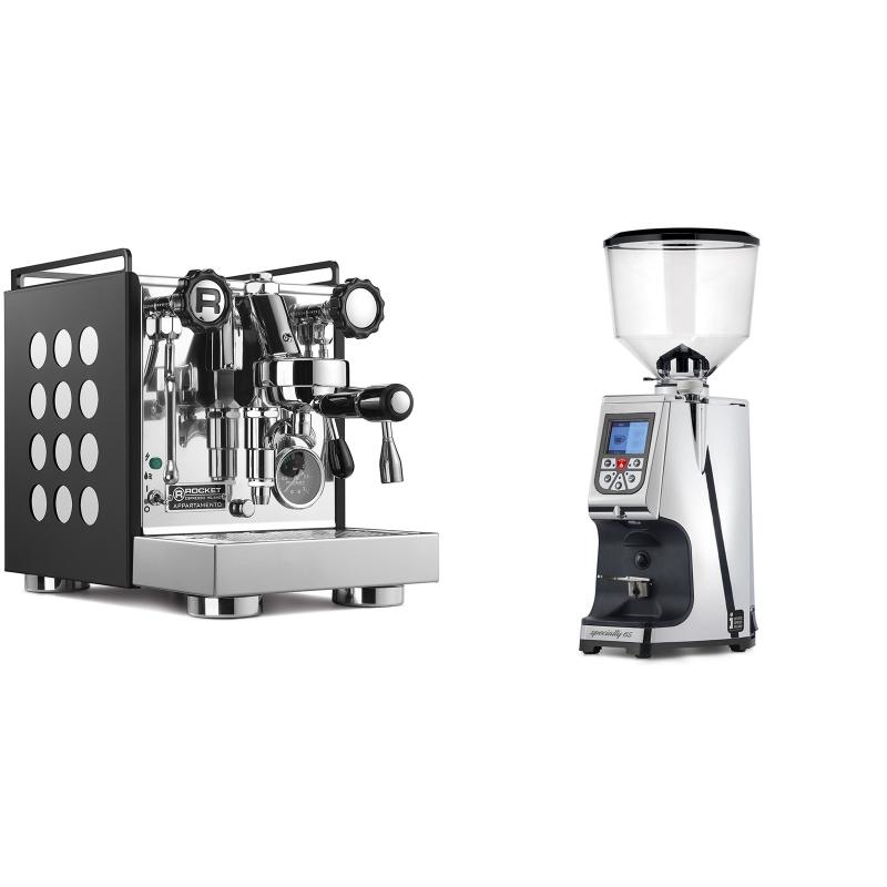 Rocket Espresso Appartamento, black/white + Eureka Atom Specialty 65, chrome