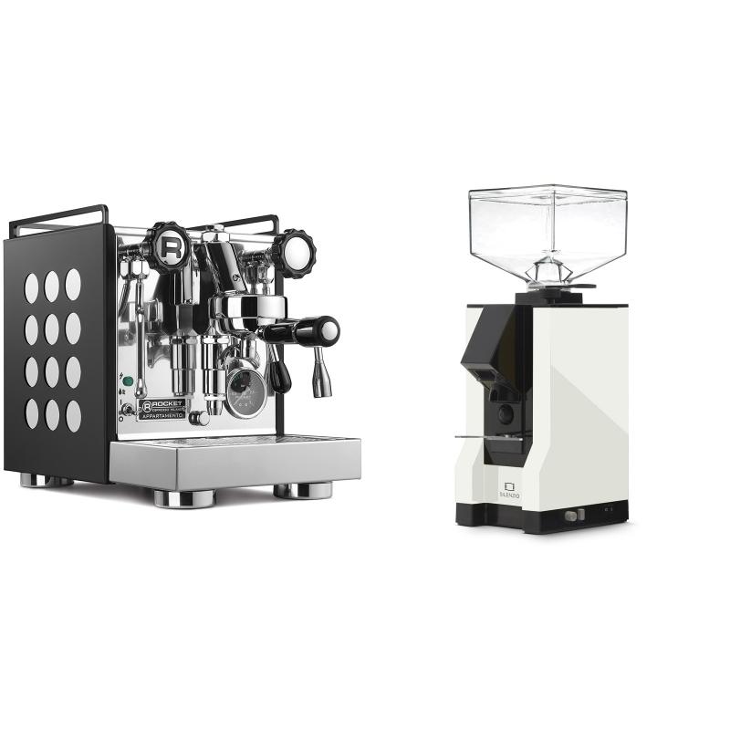 Rocket Espresso Appartamento, black/white + Eureka Mignon Silenzio, BL white