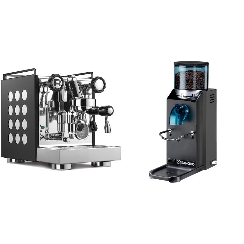 Rocket Espresso Appartamento, black/white + Rancilio Rocky Doserless, černá