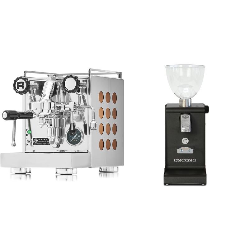 Rocket Espresso Appartamento, copper + Ascaso i-steel, černá