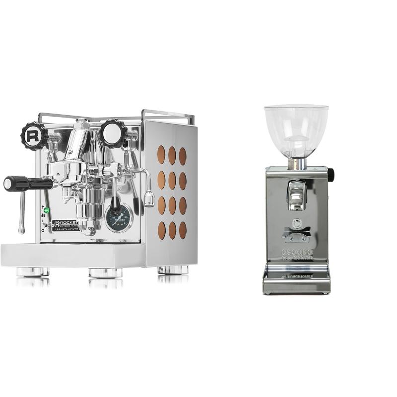 Rocket Espresso Appartamento, copper + Ascaso i-steel, lesk