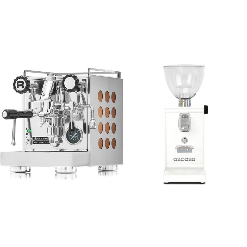 Rocket Espresso Appartamento, copper + Ascaso i-steel, bílá