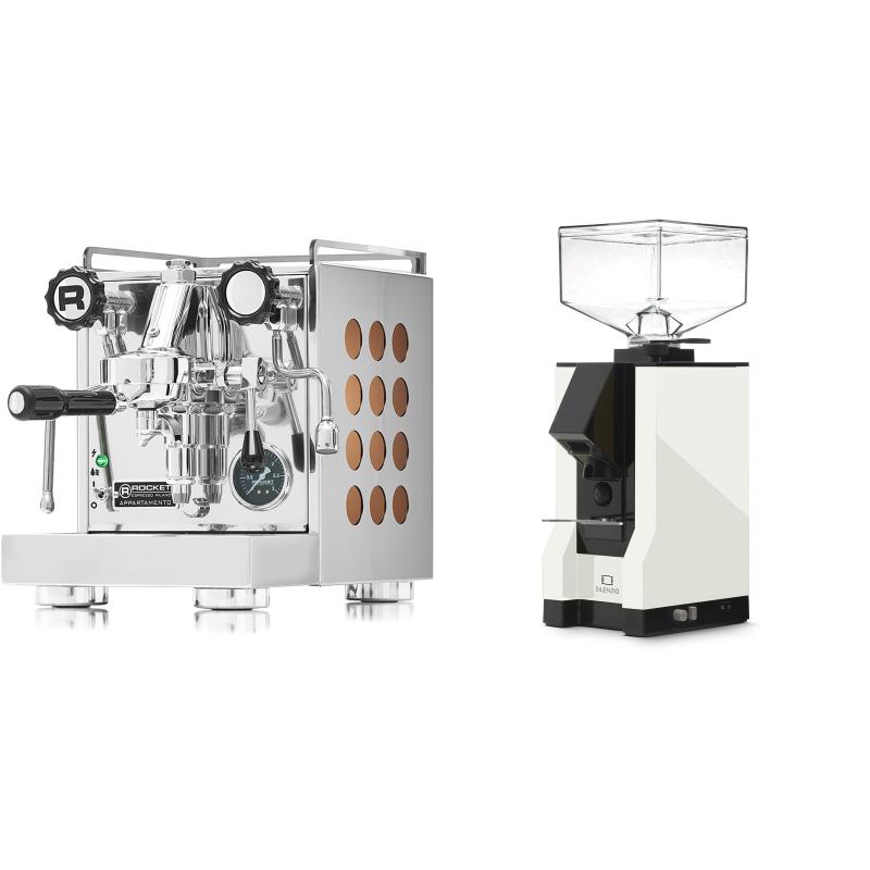 Rocket Espresso Appartamento, copper + Eureka Mignon Silenzio, BL white