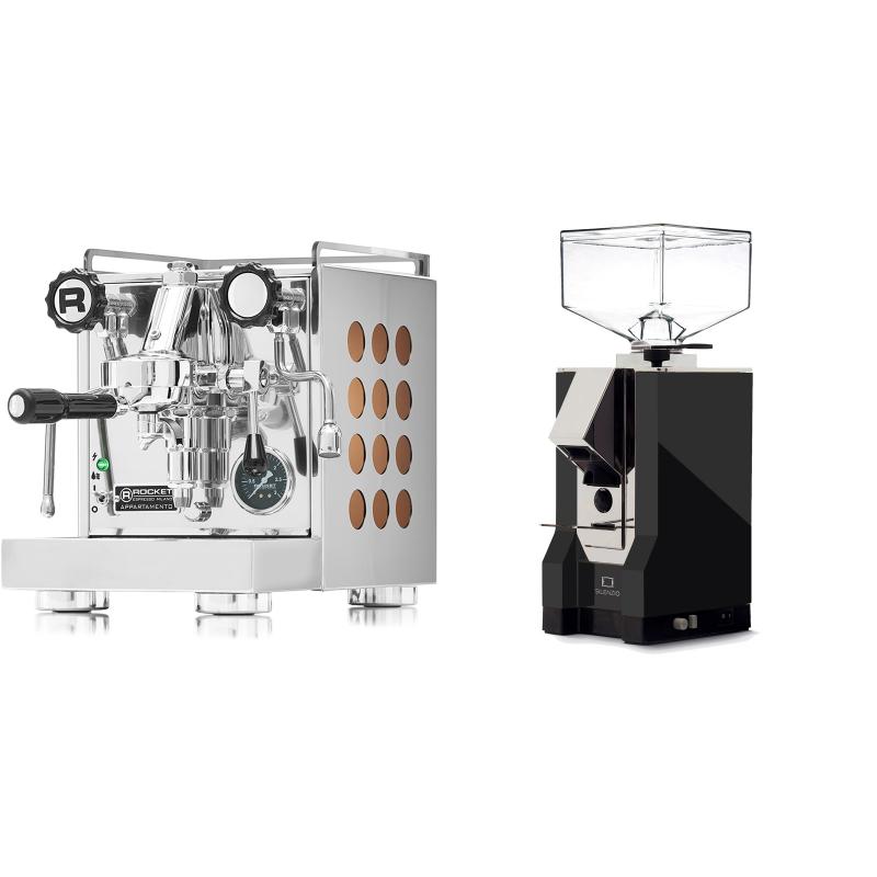 Rocket Espresso Appartamento, copper + Eureka Mignon Silenzio, CR black